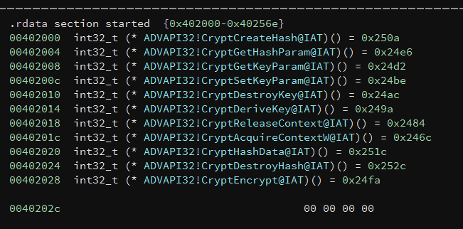 CryptEncrypt in IAT