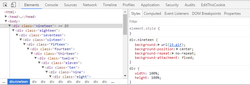 Series of divs in browser dev tools