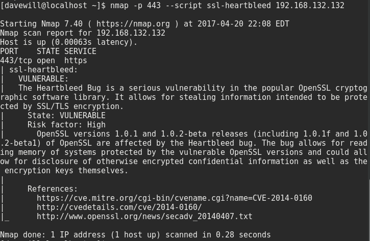 nmap scan reveals Heartbleed vulnerability